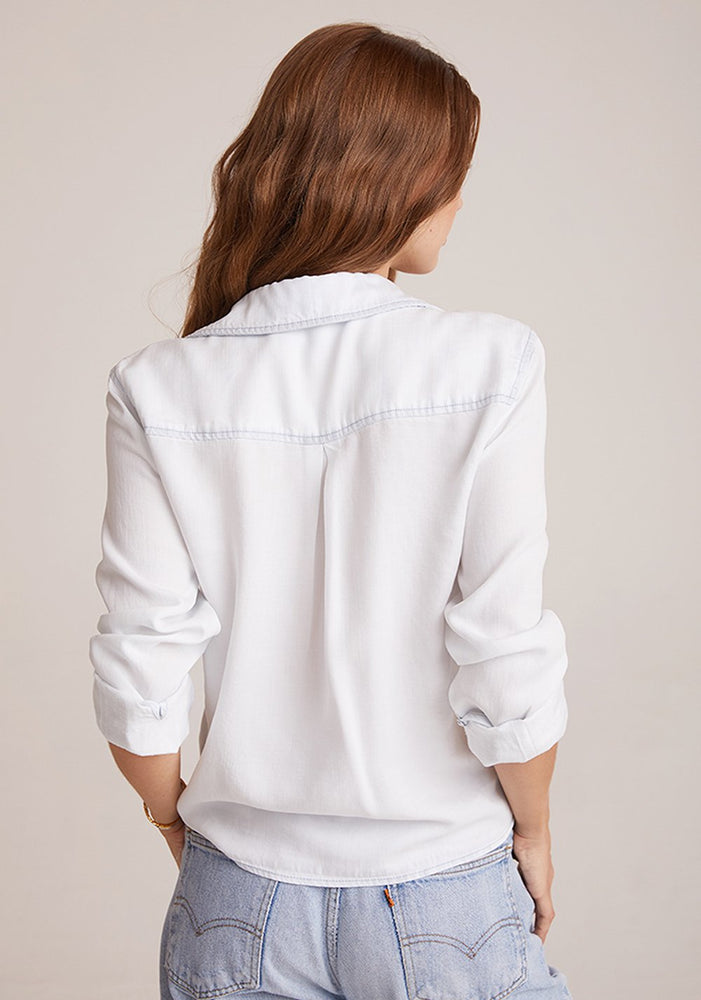 Bella Dahl, Women - Shirts & Tops,  Two Pocket Tie Front White Out Top