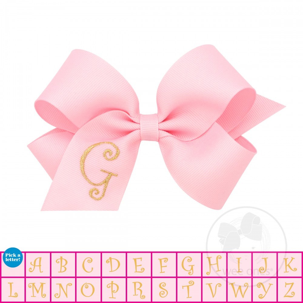 Wee Ones Medium Monogrammed Grosgrain Bow - Light Pink with Metallic Gold Initial