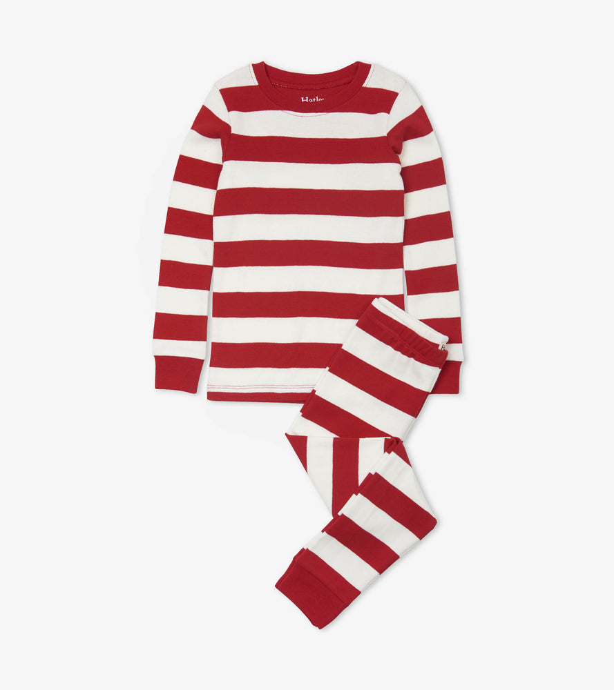 Hatley, Girl - Pajamas,  Candy Cane Stripe Organic Cotton Pajama Set