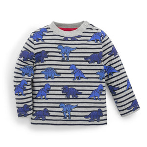 Marl Gray Dinosaur Stripe Top-Baby Boy Apparel - Shirts & Tops-Jojo Maman Bebe-12-18M-Eden Lifestyle