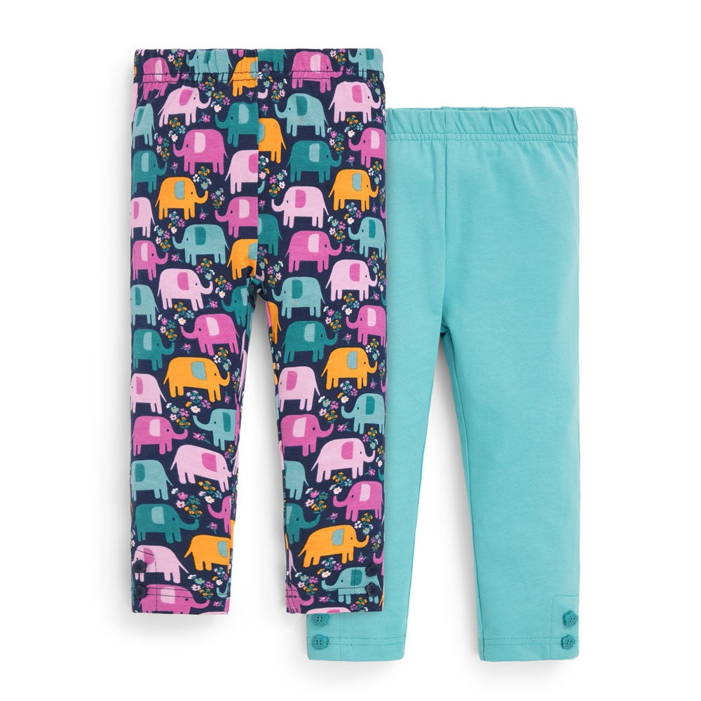 Jojo Maman Bebe Girls' Leggings-Baby Girl Apparel - Leggings-Jojo Maman Bebe-12-18M-Elephant Print-Eden Lifestyle