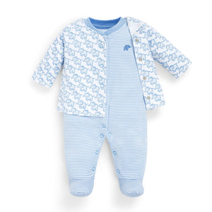 2-Piece Elephant Baby Jacket & Footie Set-Baby Boy Apparel - Rompers-Jojo Maman Bebe-0-3M-Blue-Eden Lifestyle