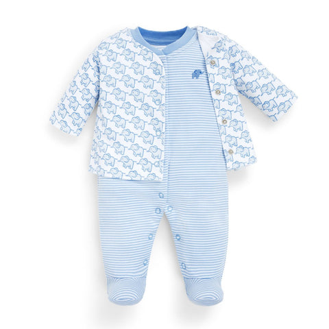 Image of 2-Piece Elephant Baby Jacket & Footie Set