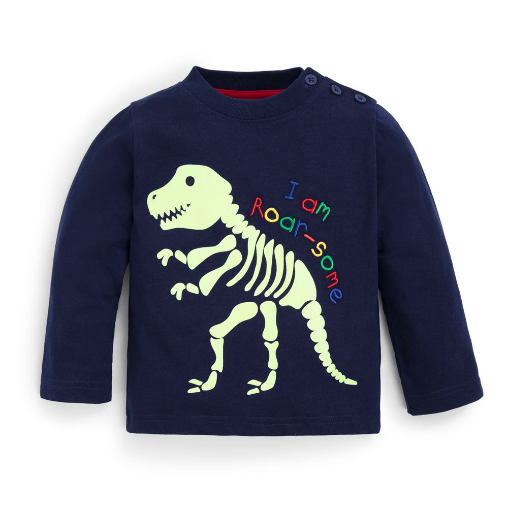 Jojo Maman Bebe, Baby Boy Apparel - Tees,  Navy Glow in the Dark Dinosaur Top