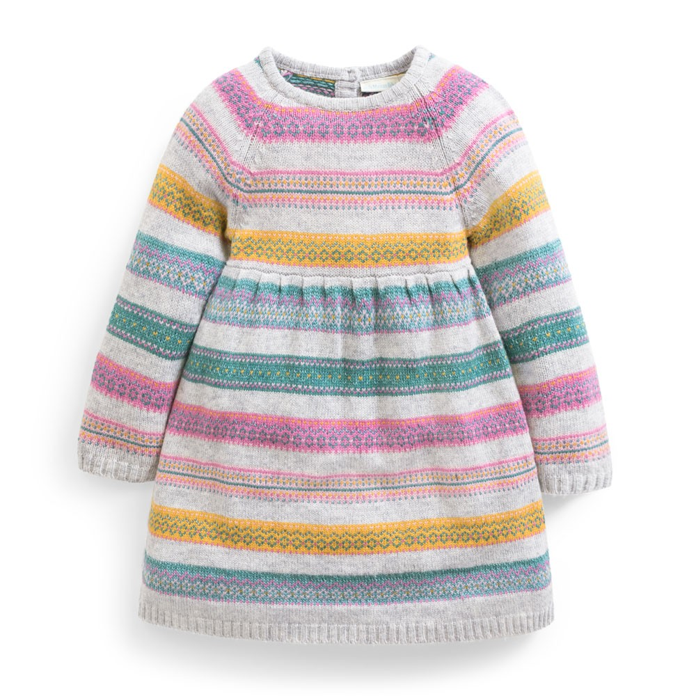 Gray Fair Isle Stripe Dress-Girl - Dresses-Jojo Maman Bebe-2-3Y-Eden Lifestyle