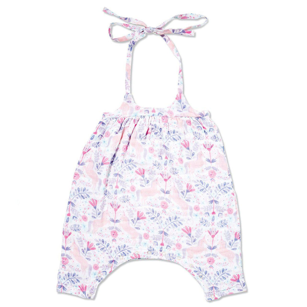 Angel Dear, Baby Girl Apparel - One-Pieces,  Angel Dear Unicorn Damask Muslin Romper with Bow Back