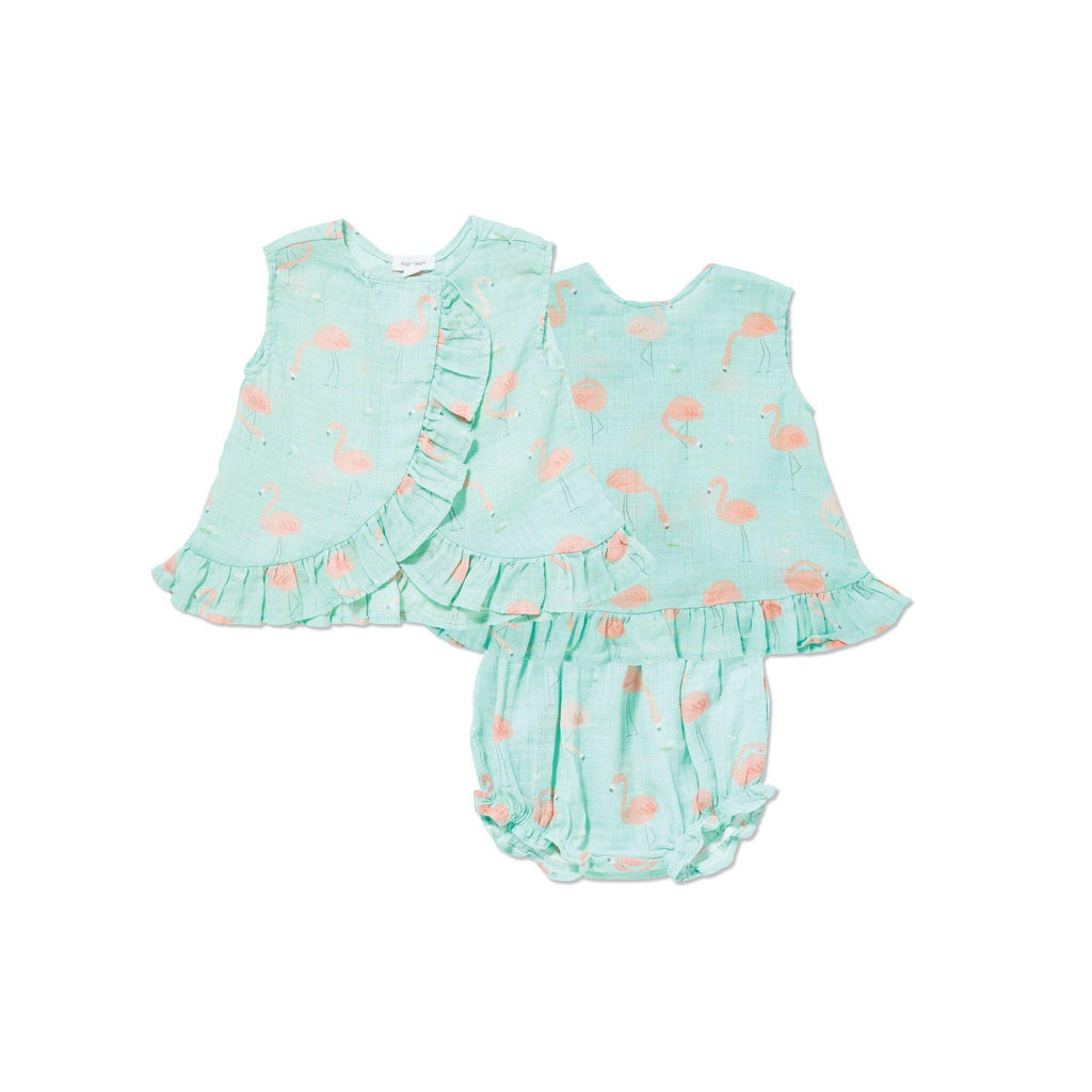 Angel Dear Muslin Ruffle Back Top and Romper - Flamingo-Baby Girl Apparel - Outfit Sets-Angel Dear-3-6M-Eden Lifestyle