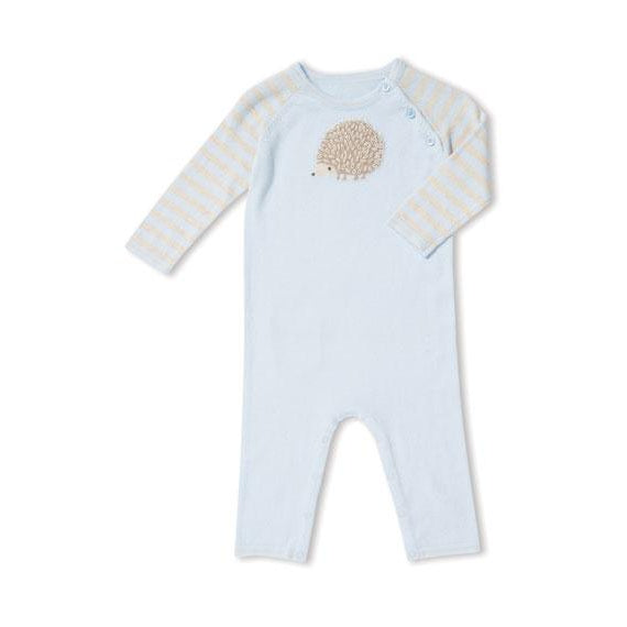 Angel Dear Blue Hedgehog Knit Coverall-Baby Boy Apparel - One-Pieces-Angel Dear-0-3M-Eden Lifestyle