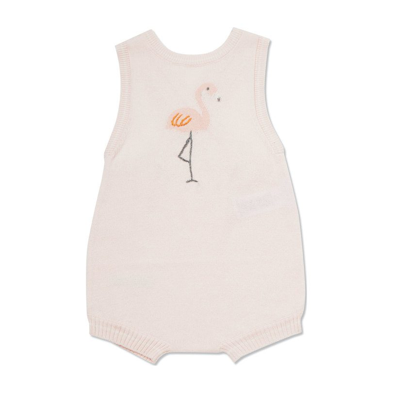Angel Dear, Baby Girl Apparel - Rompers,  Angel Dear Knit Flamingo Sunsuit