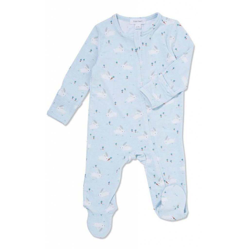 Angel Dear Zipper Footie Blue Bunnies-Baby Boy Apparel - One-Pieces-Angel Dear-0-3M-Eden Lifestyle