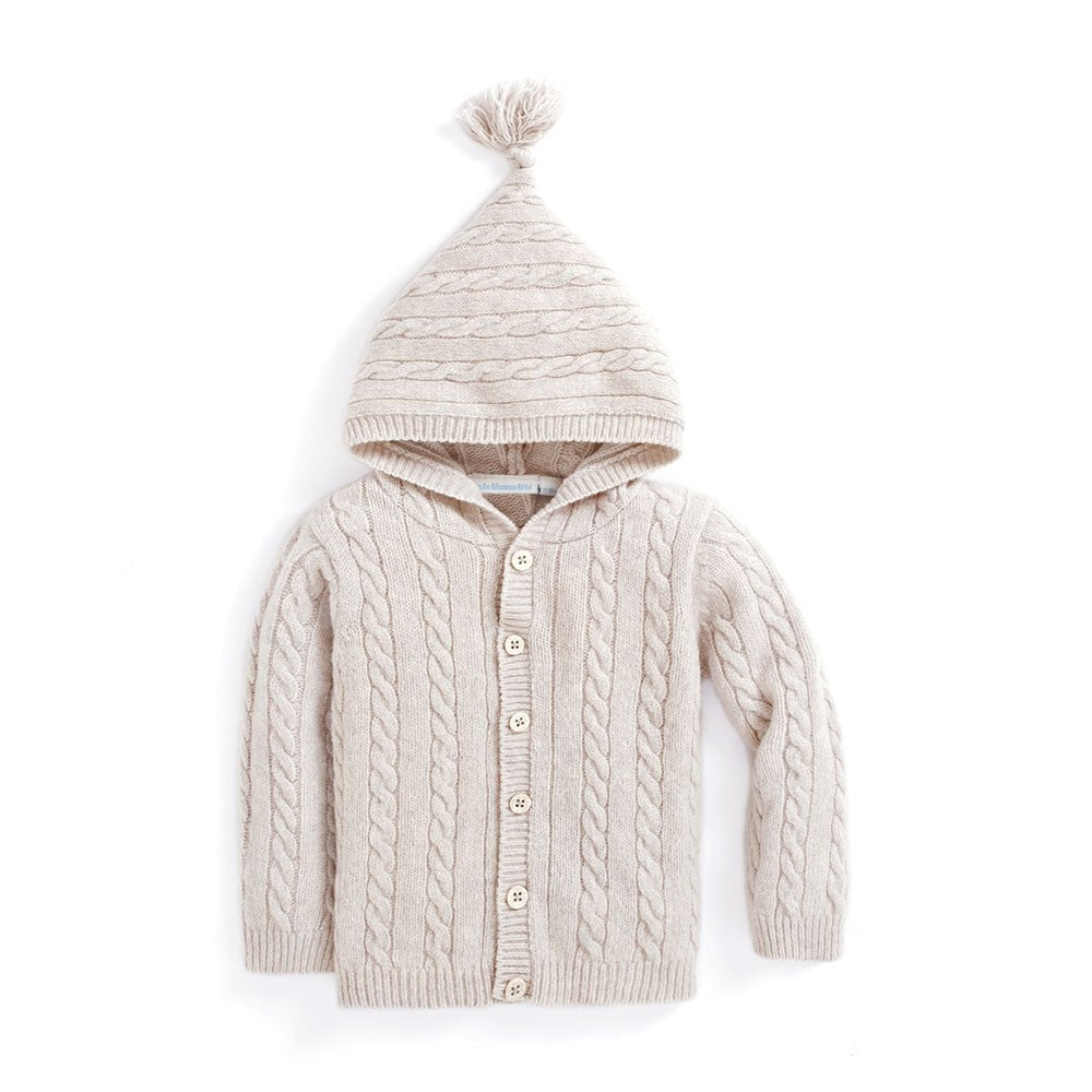 Hooded Cable Knit Cardigan-Boy - Sweaters-Jojo Maman Bebe-6-12M-Eden Lifestyle