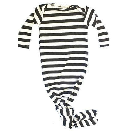 Baby Knotted Gown - Black Striped-Baby Boy Apparel - Pajamas-Aspen Lane-3-6M-Eden Lifestyle