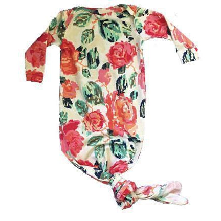 Aspen Lane, Pajamas,  Baby Knotted Gown - Floral