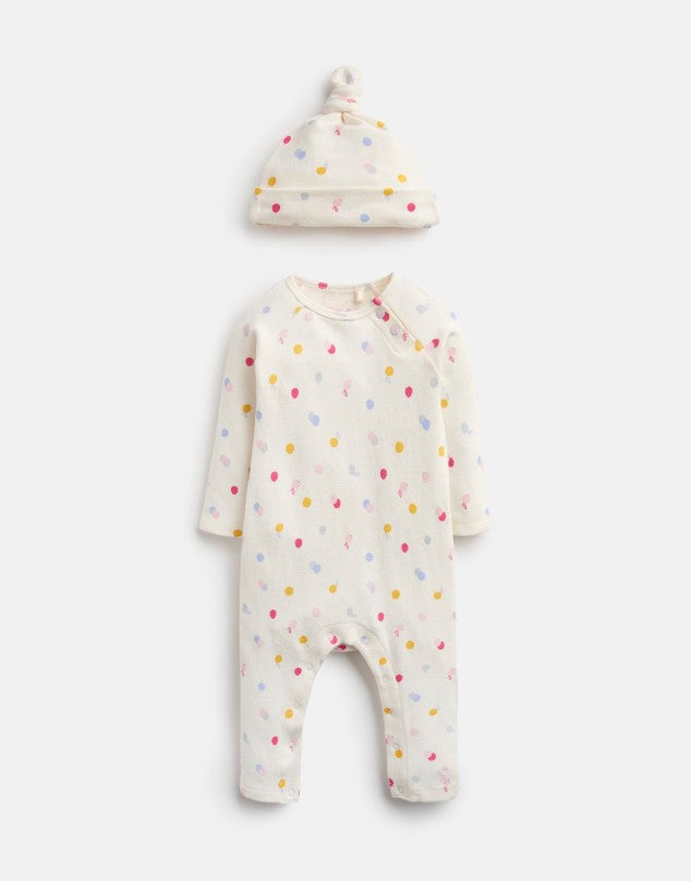 Joules Giggle Baby Grow & Hat Set