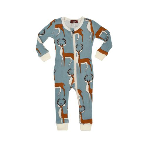 Bamboo Zipper Pajama - Blue Buck-Baby Boy Apparel - Pajamas-Milkbarn-3-6M-Eden Lifestyle