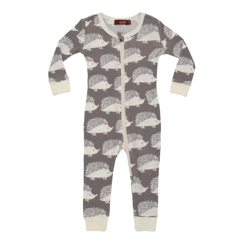 Bamboo Zipper Pajama - Grey Hedgehog-Baby Boy Apparel - Pajamas-Milkbarn-6-9M-Eden Lifestyle