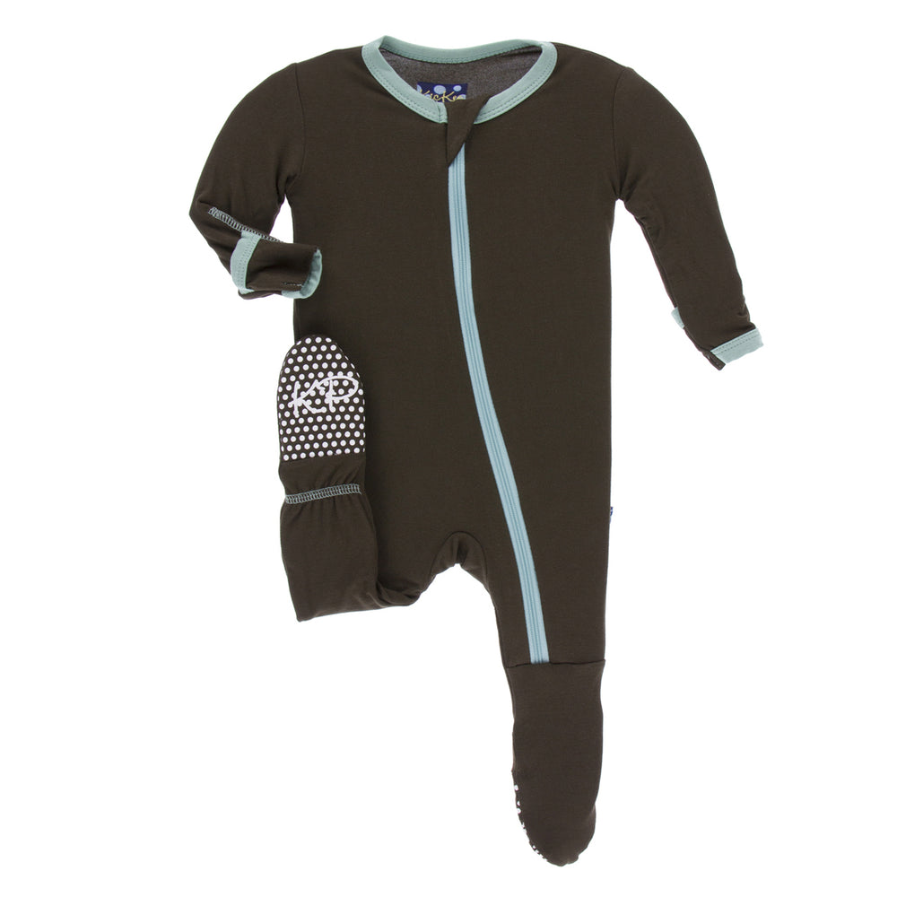 KicKee Pants, Baby Boy Apparel - Pajamas,  KicKee Pants - Solid Footie with Zipper - Bark With Shore