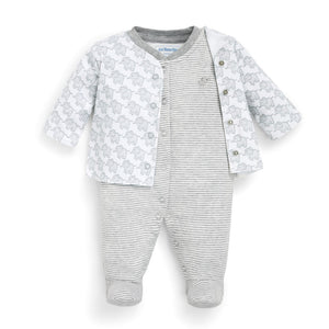 2-Piece Elephant Baby Jacket & Footie Set-Baby Boy Apparel - Rompers-Jojo Maman Bebe-0-3M-Grey-Eden Lifestyle