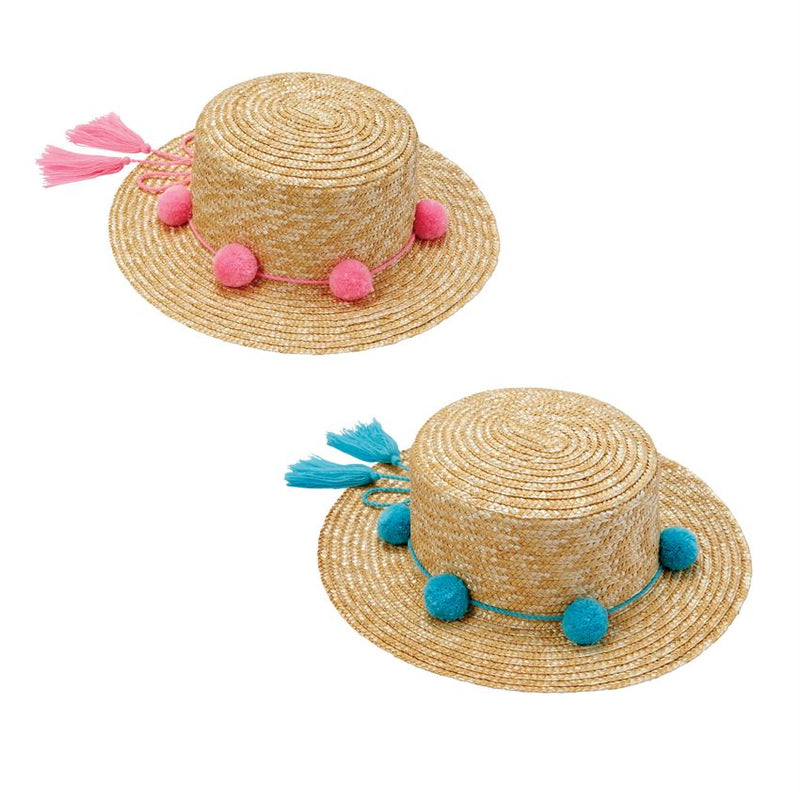 Girls Pom Pom Beach Hat-Accessories - Hats-Mud Pie-Pink-Eden Lifestyle