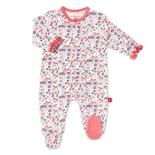 Magnificent Baby, Baby Girl Apparel - Pajamas,  Magnetic Me Beatrix Floral Modal Footie