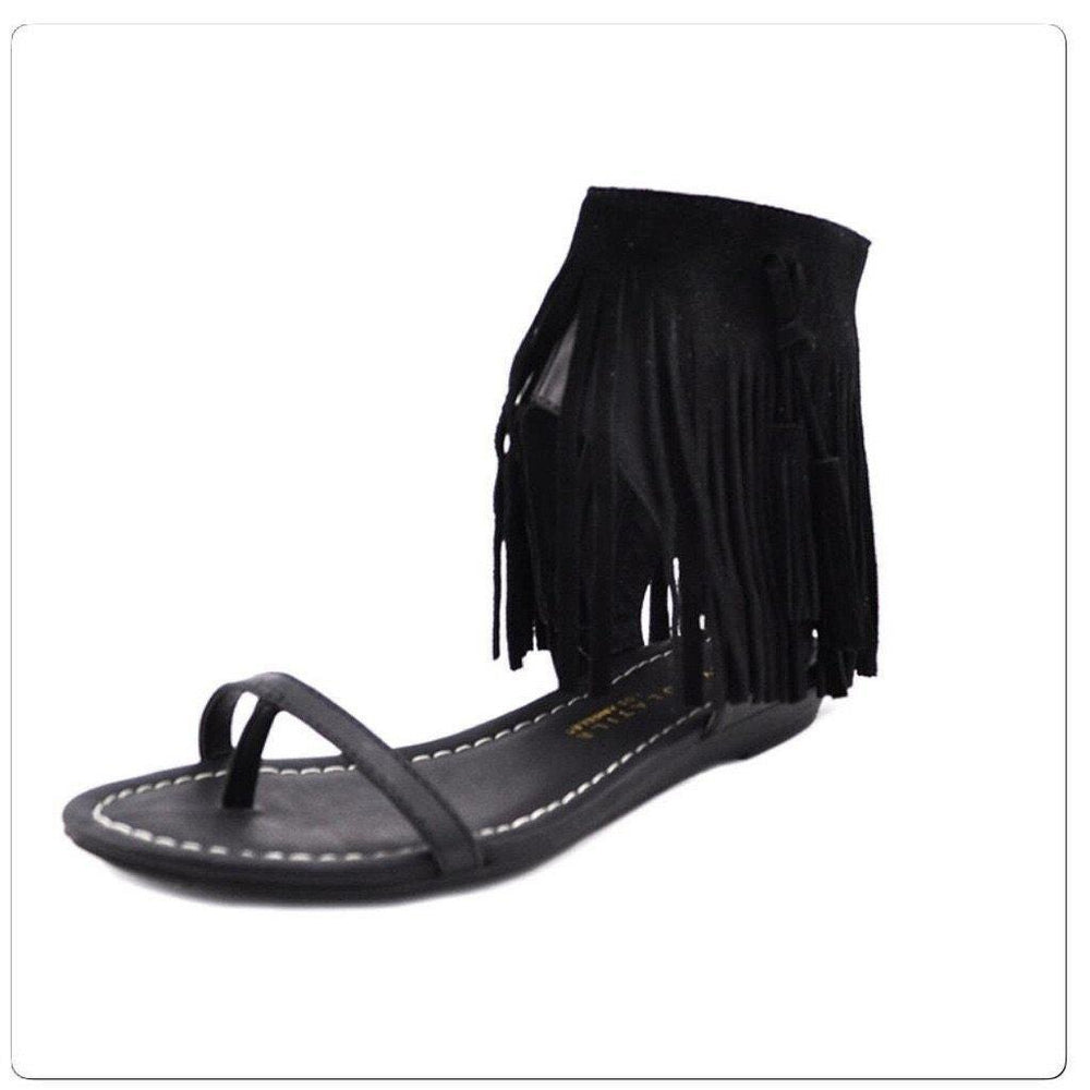 Eden Lifestyle, Shoes - Women,  Black Fringe Sandal