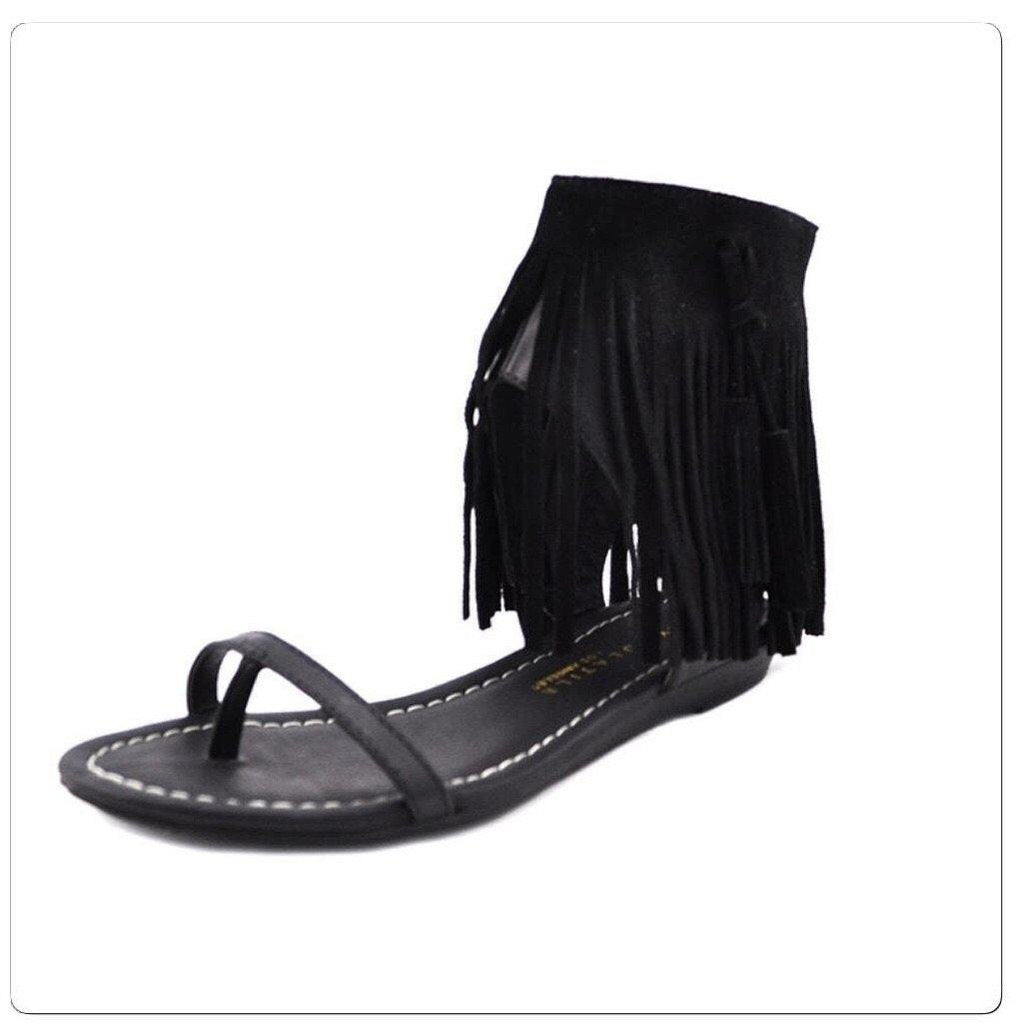 Black Fringe Sandal-Shoes - Women-Eden Lifestyle-6-Eden Lifestyle