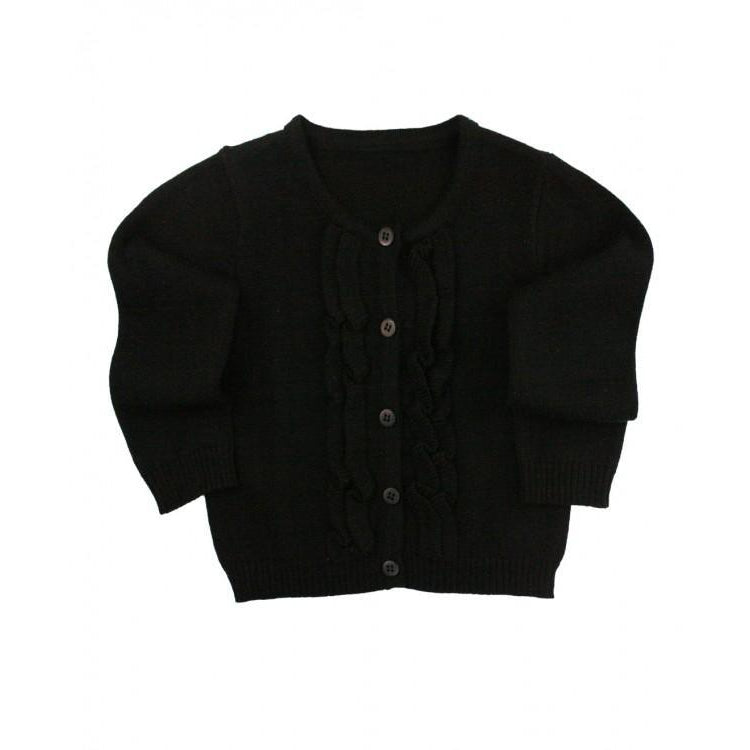 Black Ruffle Cardigan-Baby Girl Apparel - Shirts & Tops-Ruffle Butts-18-24M-Eden Lifestyle