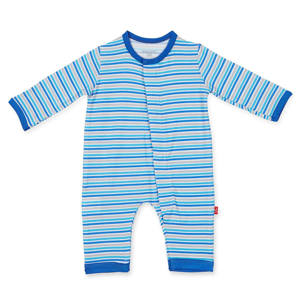 Magnetic Me by Magnificent Blue Stripe Modal Magnetic Coverall-Baby Boy Apparel - Rompers-Magnificent Baby-0-3M-Eden Lifestyle
