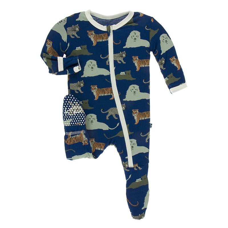 KicKee Pants, Baby Boy Apparel - Pajamas,  Kickee Pants Print Footie with Zipper in Flag Blue Big Cats