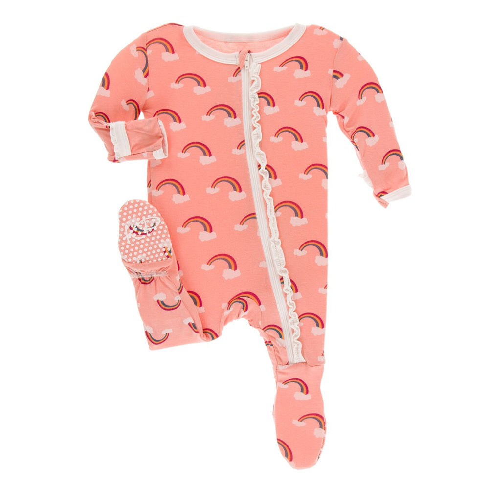 KicKee Pants, Baby Girl Apparel - Pajamas,  Kickee Pants Print Muffin Ruffle Footie with Zipper - Blush Rainbow