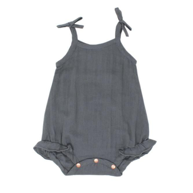 L'oved Baby Organic Muslin Ruffle Bodysuit in Gray-Baby Girl Apparel - One-Pieces-Loved Baby-3-6M-Eden Lifestyle