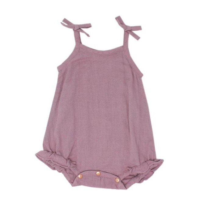 L'oved Baby Organic Muslin Ruffle Bodysuit in Lavender-Baby Girl Apparel - One-Pieces-Loved Baby-3-6M-Eden Lifestyle