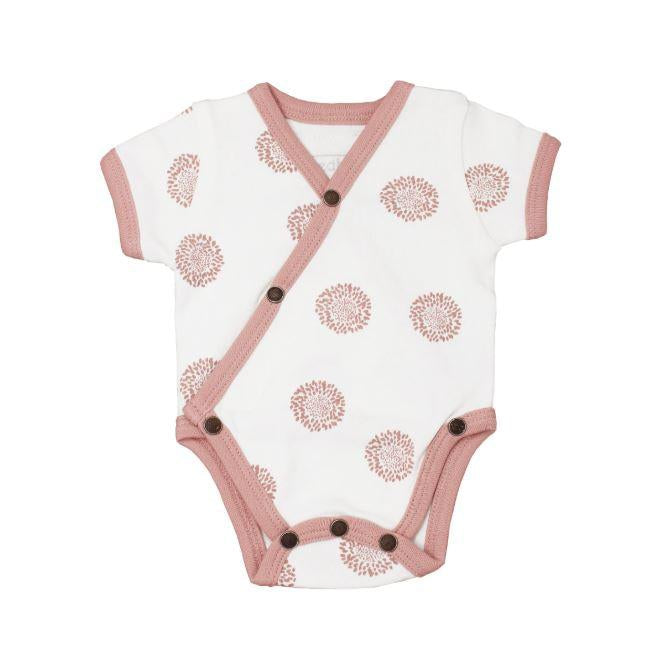L'oved Baby Organic Short-Sleeve Kimono Bodysuit in Mauve Sunflower-Baby Girl Apparel - One-Pieces-Loved Baby-NB-Eden Lifestyle