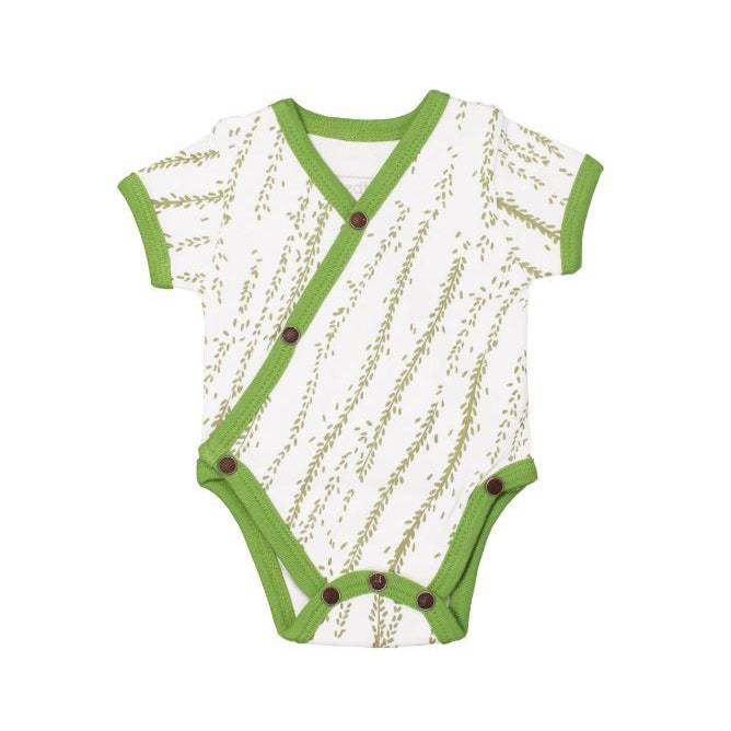 L'oved Baby Organic Short-Sleeve Kimono Bodysuit in Moss Willow-Baby Boy Apparel - One-Pieces-Loved Baby-NB-Eden Lifestyle
