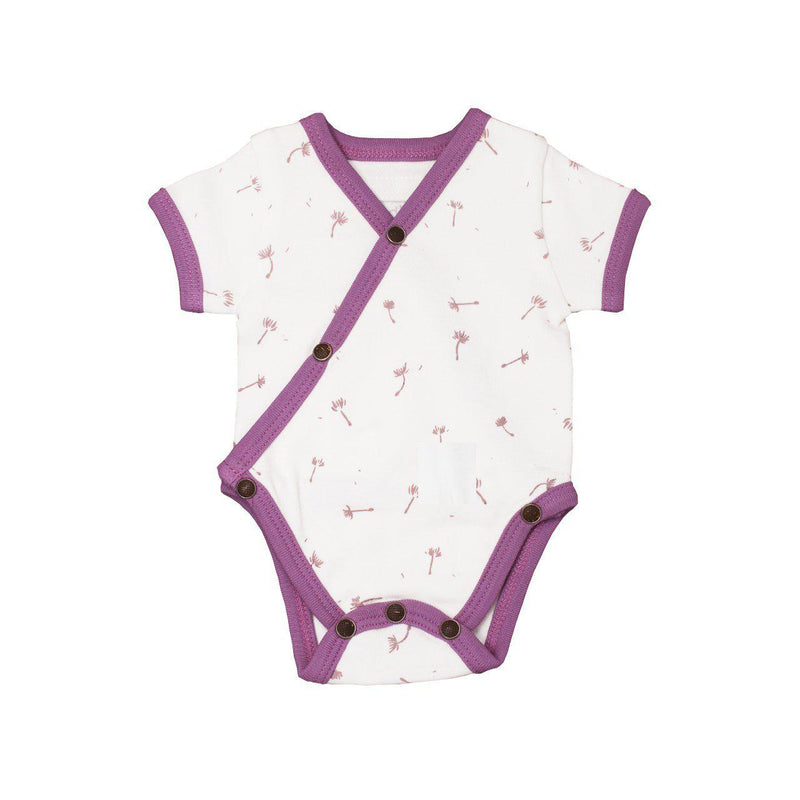 L'oved Baby Organic Short-Sleeve Kimono Bodysuit in Grape Dandelion-Baby Girl Apparel - One-Pieces-Loved Baby-NB-Eden Lifestyle