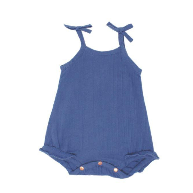 L'oved Baby Organic Muslin Ruffle Bodysuit in Slate-Baby Girl Apparel - One-Pieces-Loved Baby-3-6M-Eden Lifestyle