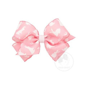 Wee Ones, Accessories - Bows & Headbands,  Small Bunny Print Stitched Edge Bow
