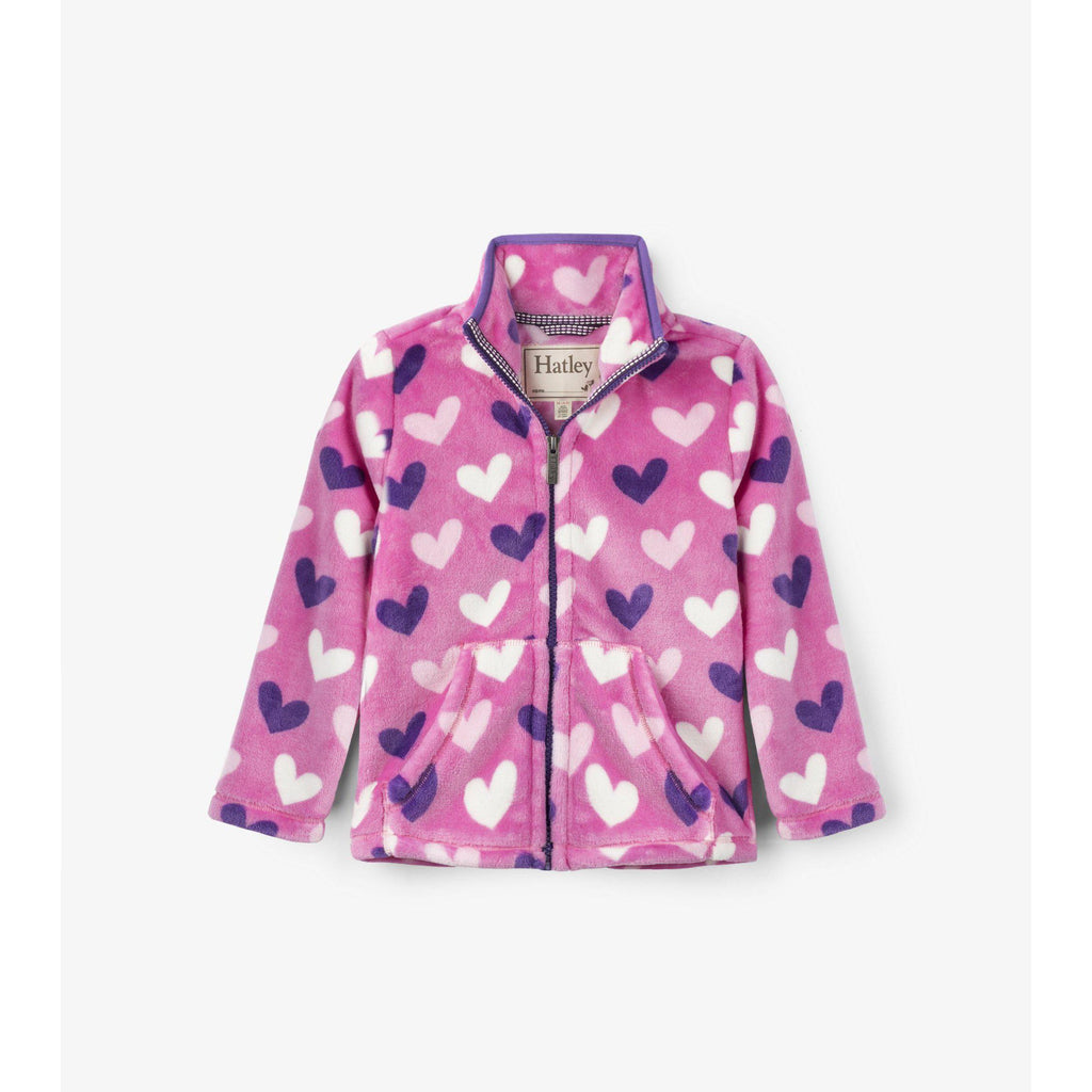Hatley Multi Hearts Fuzzy Fleece Zip Up-Girl - Outerwear-Hatley-3-Eden Lifestyle