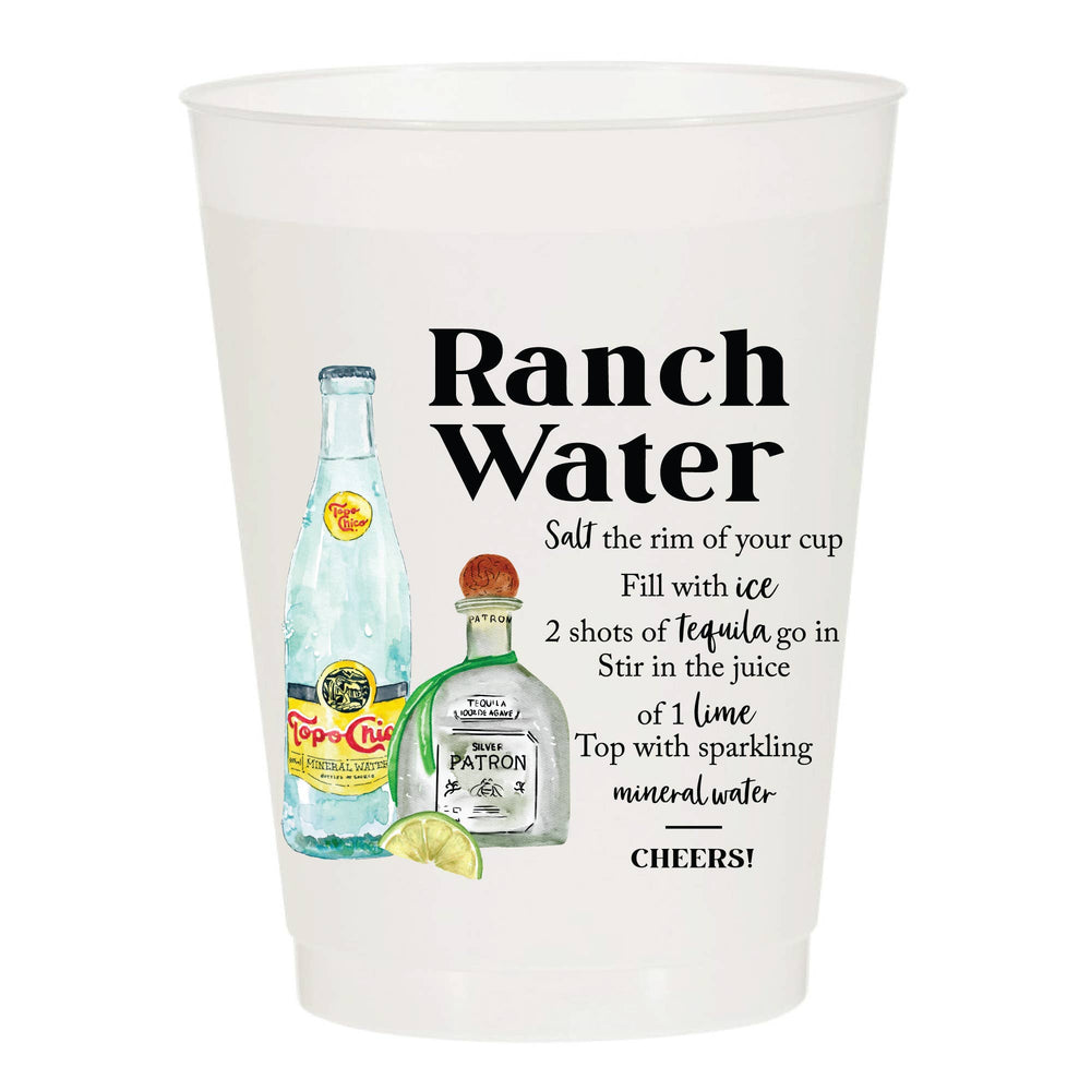 Ranch Water Recipe - Reusable Cups - Set of 10