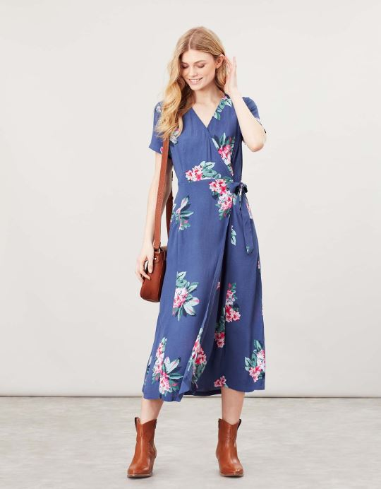JOULES - CALLIE PRINT WRAP DRESS WITH ANGLED POCKETS FLORAL BLUE