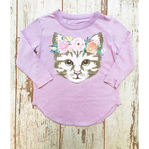 Chaser Girls Cat Floral Tee-Girl - Tees-Chaser-4-Eden Lifestyle