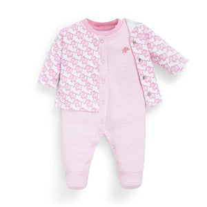 2-Piece Elephant Baby Jacket & Footie Set-Baby Boy Apparel - Rompers-Jojo Maman Bebe-0-3M-Pink-Eden Lifestyle