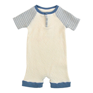 Chambray Shorts Romper-Baby Boy Apparel - Rompers-Miki Miette-3M-Eden Lifestyle