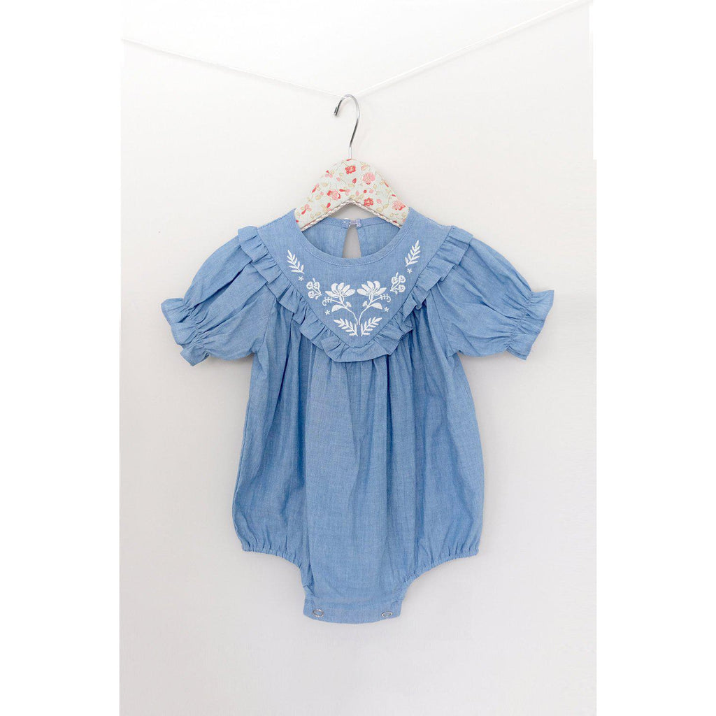 Mae Li Rose Chambray Bubble-Baby Girl Apparel - One-Pieces-Mae Li Rose-12/18M-Eden Lifestyle