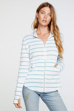 Chaser, Women - Outerwear,  Chaser - Baby Rib Mock Neck Long Sleeve Thumbhole Jacket in Stripe