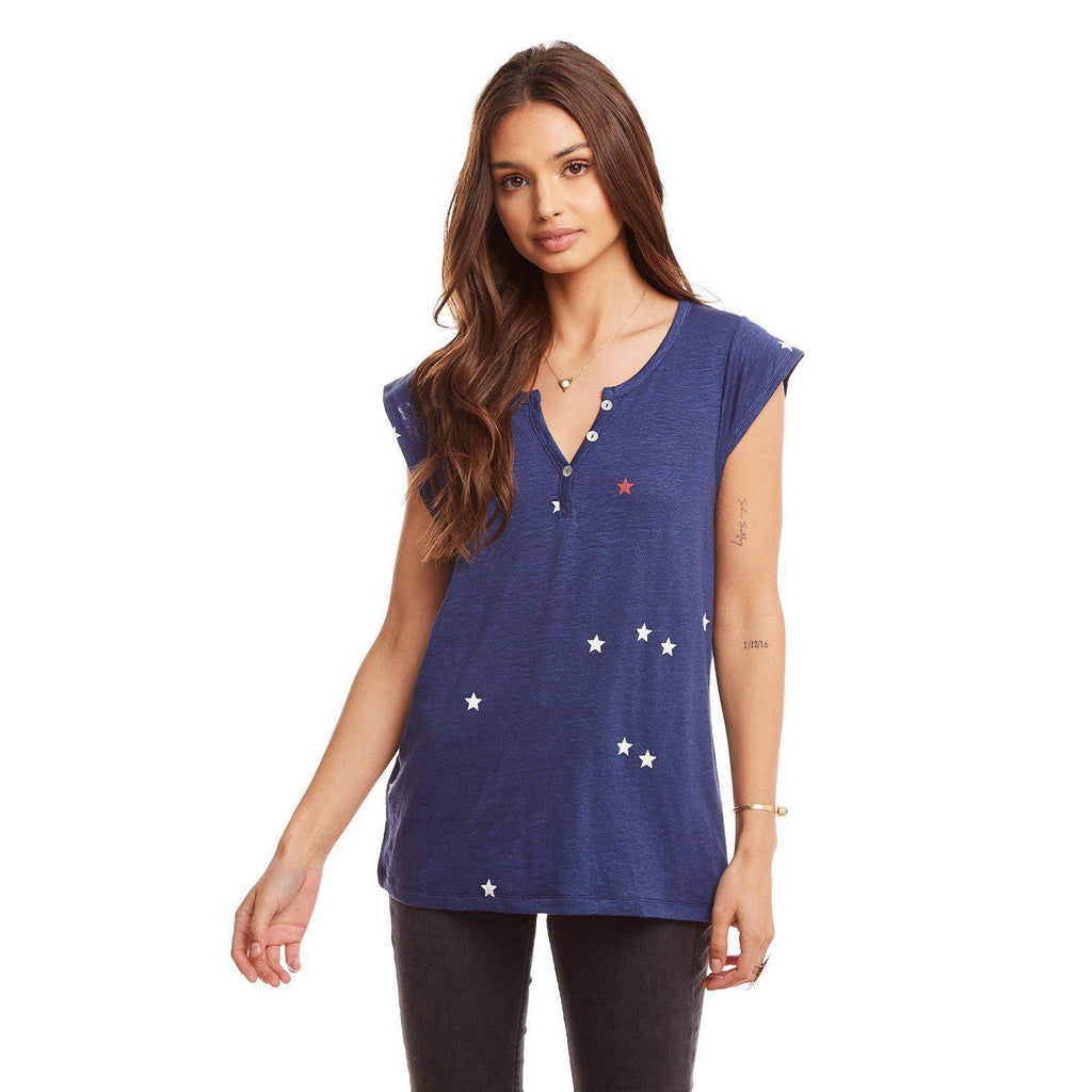 Chaser Linen Jersey Button Front Cap Sleeve Baby Henley-Women - Shirts & Tops-Chaser-S-Eden Lifestyle