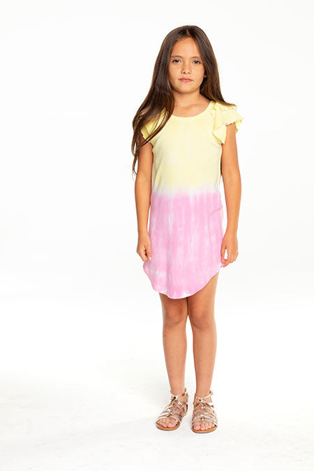 Chaser, Girl - Dresses,  Chaser - Girls Baby Rib Flutter Sleeve Shirttail Mini Dress Dip Dye