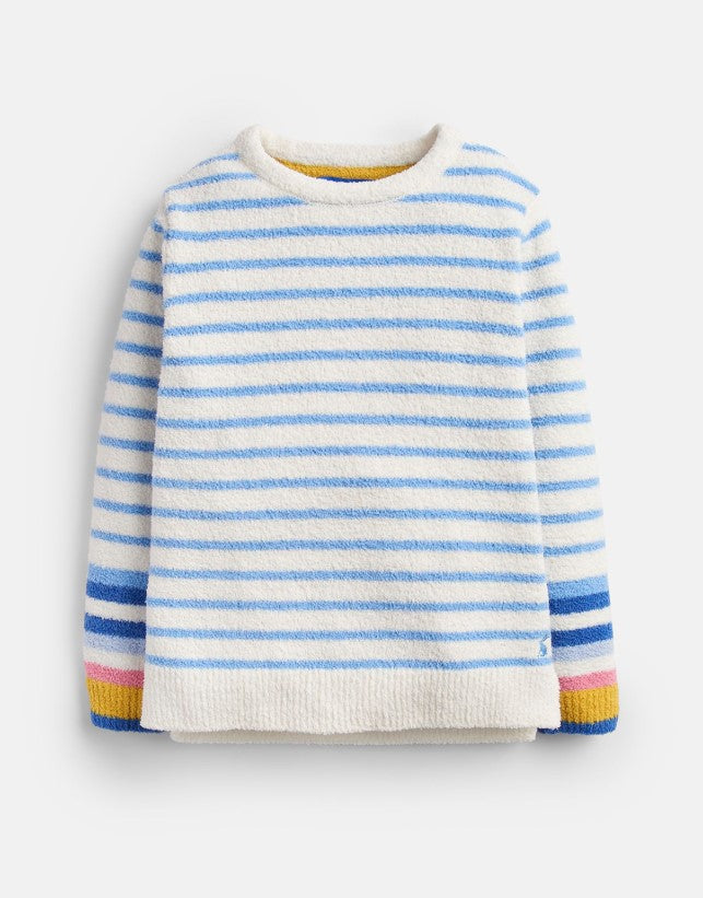 Joules Seaham Lake Blue Cream Stripe Chenille Sweater