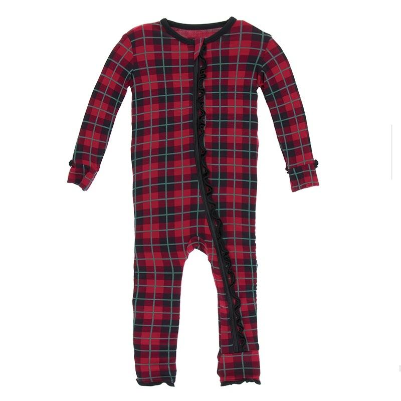 KicKee Pants - Christmas Plaid Girl's Romper-Baby Girl Apparel - Rompers-KicKee Pants-9-12M-Romper-Eden Lifestyle