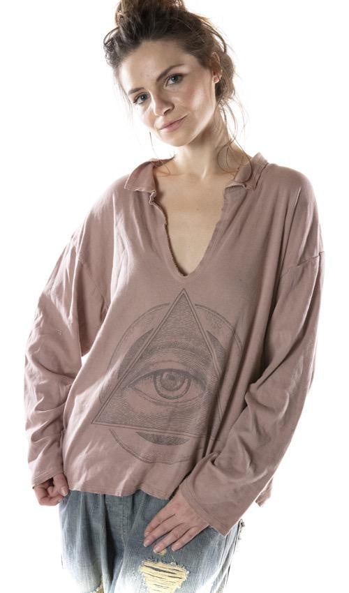 COTTON JERSEY EYE OF ETERNITY TORY PULLOVER WITH RAW EDGES, MAGNOLIA PEARL